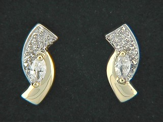 Bow Shaped Marquise Cubic Earrings