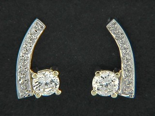 Arched Pave And Round Cubic Earrings