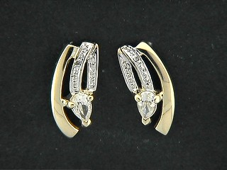 Arched Pave Shinny Bar And Pear Cubic Earrings