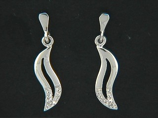 Open Wave And Diamond Earrings