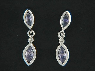 Marquise Cubic And Diamond Earrngs