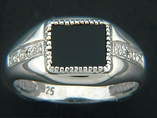Rectangle Onyx Pave Diamond Ring