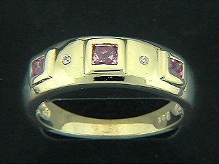 Multi Square Cubic And Round Diamond Ring