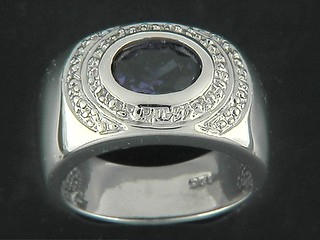 Round Amethyst Double Pave Circle Ring