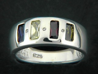 Multi Rectangle And Round Colour Cubic Ring