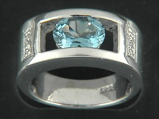 Oval Aqua And Open Rectangle Pave Ring