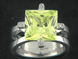 Square Large Peridot And Pave Claw Ring