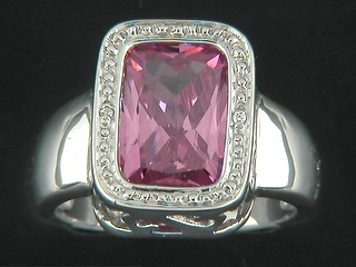 Cushion Rectangle Pink Cubic Pave Border Ring