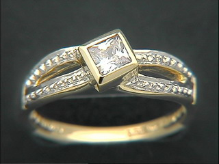 Square Cubic Open Pave Ring