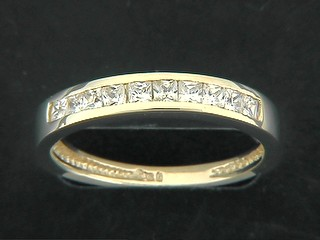 Square Cubic Half Eternity Ring