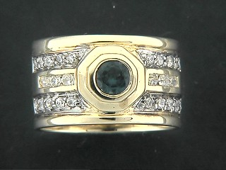 Broad Pave Shinny Cubic Channel Row Ring