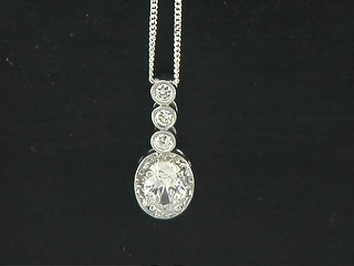 Oval Pave Cubic And Triple Round Cubic Pendant