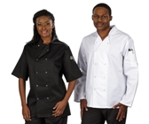 Zest Chef Jacket Short Sleeve - Avail in: Black, White