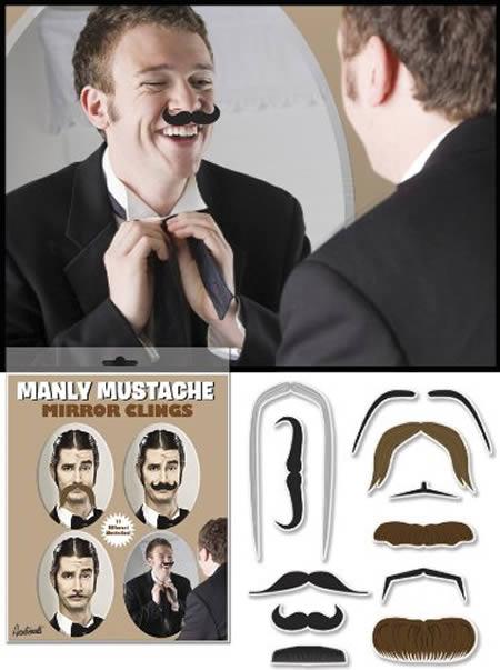 Mustache Mirror Clings