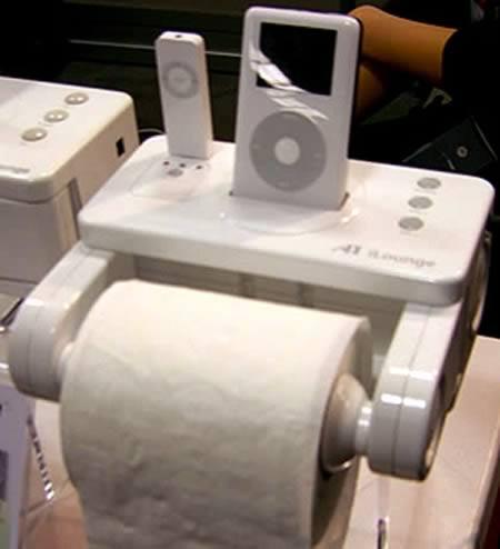 iLounge: toilet paper dispenser + iPod dock
