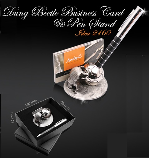 Soccer Dung Beetle pen & business card holder