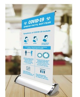 Covid-19 Desk Mini Pull Up Banner (Min 25 units)
