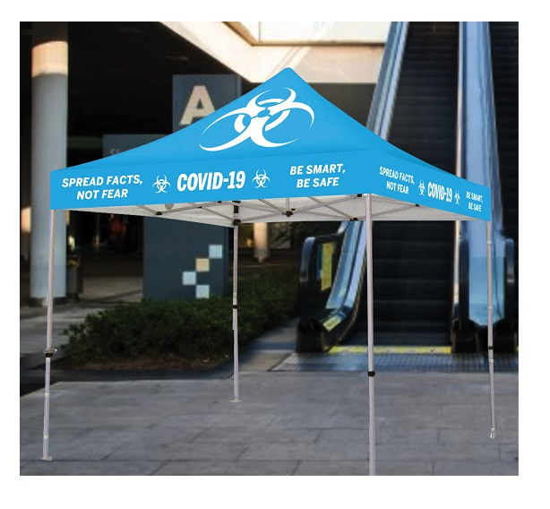 Covid-19 Gazebo Steel Frame - Digitally Printed (240gsm Canopy)