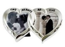 Double Heart Design Photo Frame - Two Tone