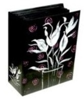 Photo Album 200 Photos with Bragbook - black with Pink Flowers