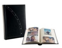 Leather Picture Album with Studs - 200 Photos - Black Pages