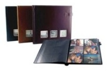 Leather Photo Album - 3 Windows - 6 Up - Black