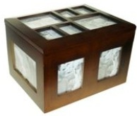Dark Brown Rectangular Wooden Photo Box