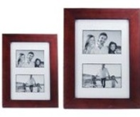Burgandy Wooden Picture Frame - 2 windows (4 * 6 inch)