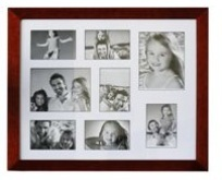 Burgandy Wooden Picture Frame - 9 windows