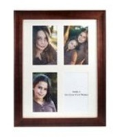 Broad Brown Wooden Photo Frame - 4 Windows