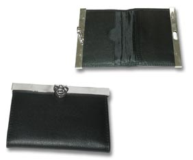 BUSINESS CARD HOLDER - BLACK REAL LEATHER