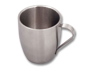 SS DBL WALL COFFEE MUG W/HANDLE 220ML