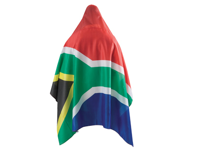 Hooded cape in the shape of the South African flag.