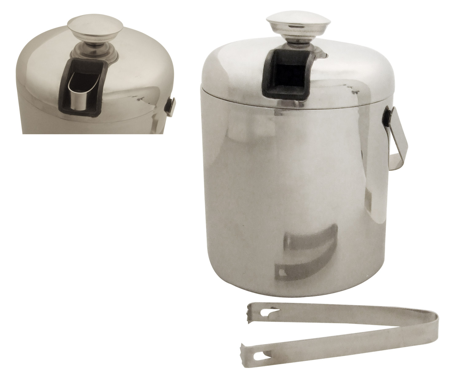 Stainless Steel Double Wall Ice Bucket (1.3L) W/Slide Out Tongs