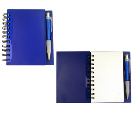 Note Book With Pen Blue (16X13.5Cm)