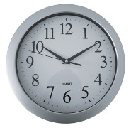 Silver And White Wall Clock With Sweep Movement