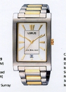 Lorus Gents 2/Tone Tank Slv Dl Date Wrist Watch