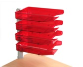 Swivel Letter Trays, 4 Tier Unit with Clamp Fix - Burgandy