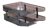 Letter Trays, Two Tier Cantilever - Grey