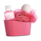 Bath set in colourful wooden basket -Available in: Blue-Fuchsia-