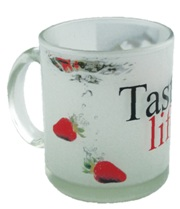 Frosted glass mug with full colour print