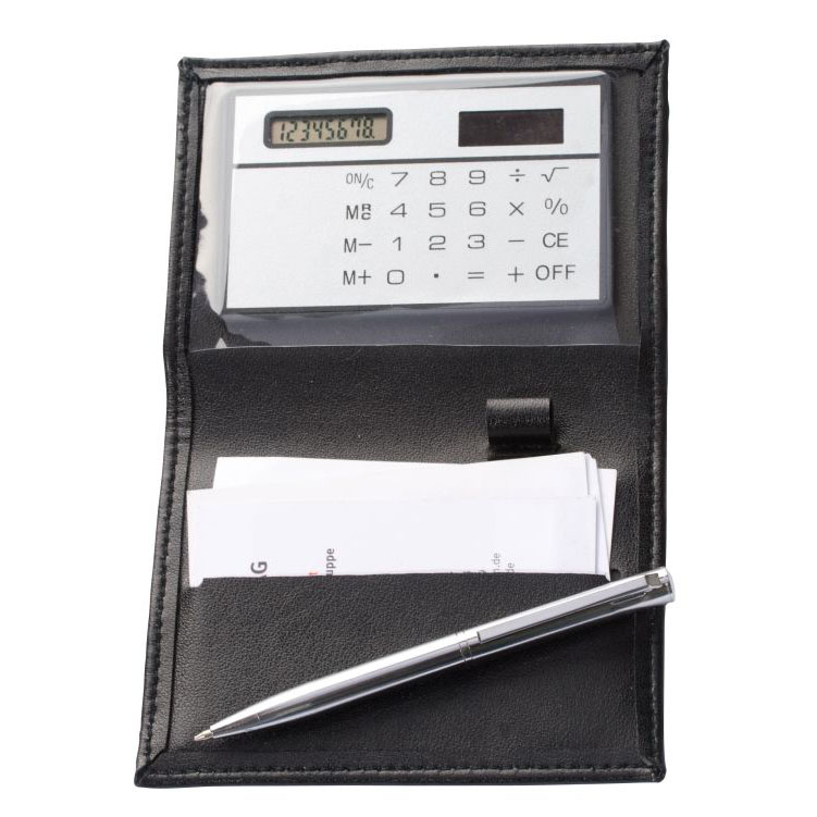 Business card folder with an integrated solar powered calculator