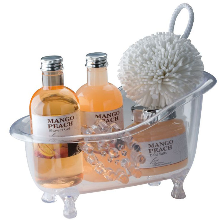 Wellness gift set in a re-usable small acrylic bath tub consisti