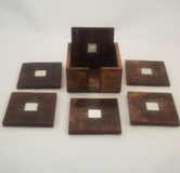 6 pc Wooden Square Coaster Set With Stand