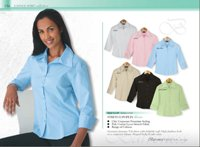 Ladies Stretch Poplin Blouse 3/4 Sleeve