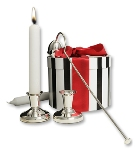Silver Dumpy Candlesticks and Snuffer (Standard) Hamper